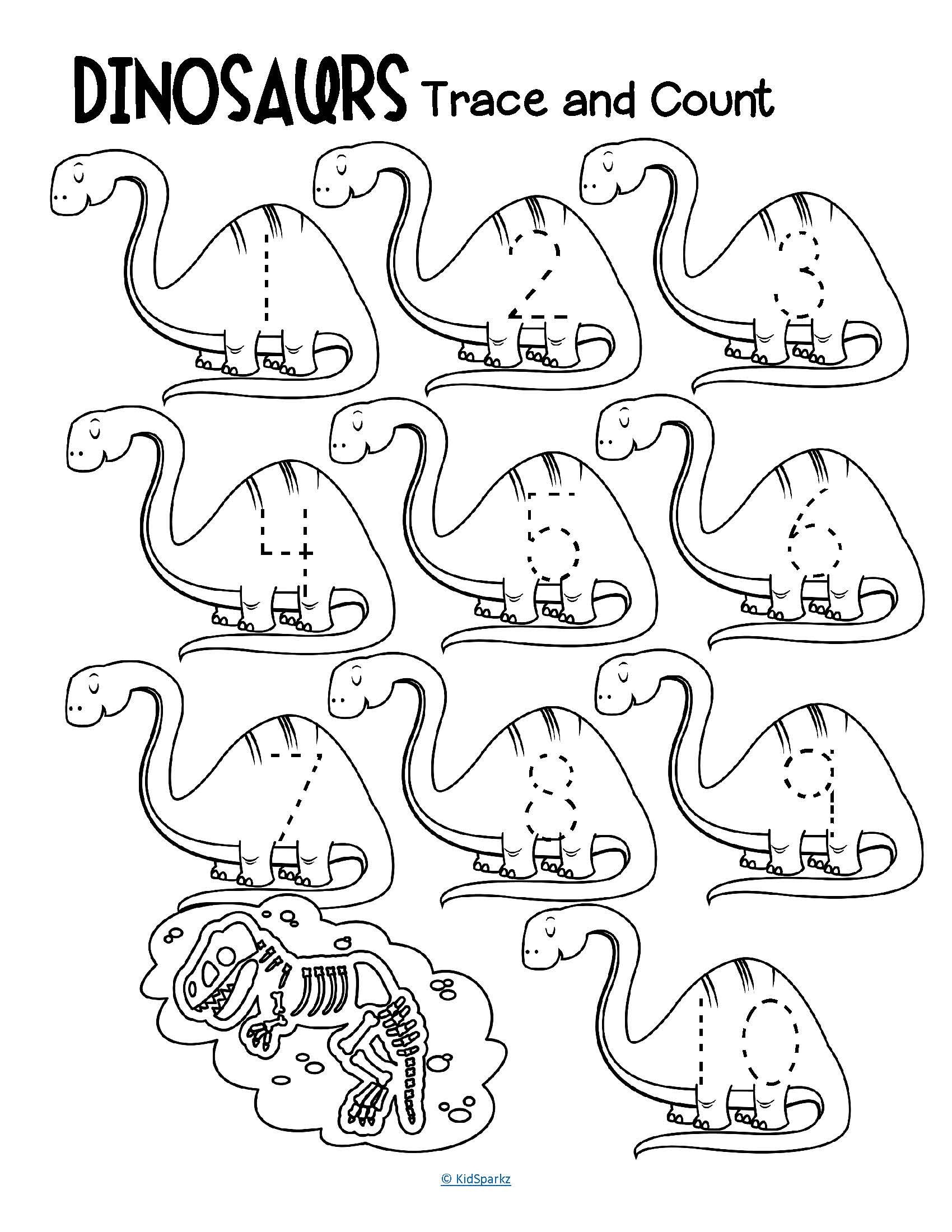 Dinosaurs Trace And Count 1 10 Numbers Fine Motor