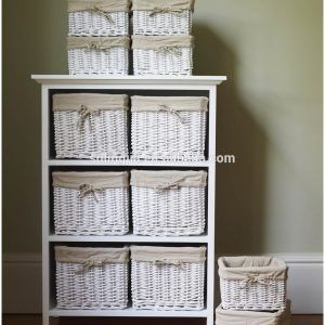 Wood Shelves With Wicker Baskets