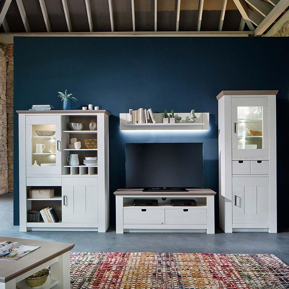 Wohnzimmer Anbauwand im skandinavischen Design Kiefer Weiß (4-teilig ...