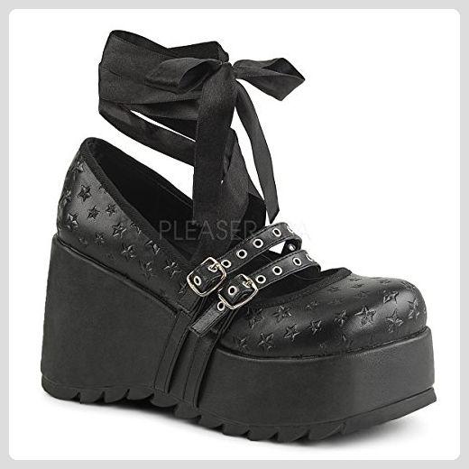 Demonia Damen Wedgies Scene 20 schwarz Gr. 37 Stiefel für