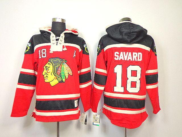 Chicago Blackhawks 18 Denis SAVARD Lace-Up Jersey Hooded Sweatshirt ... 5dd76660b