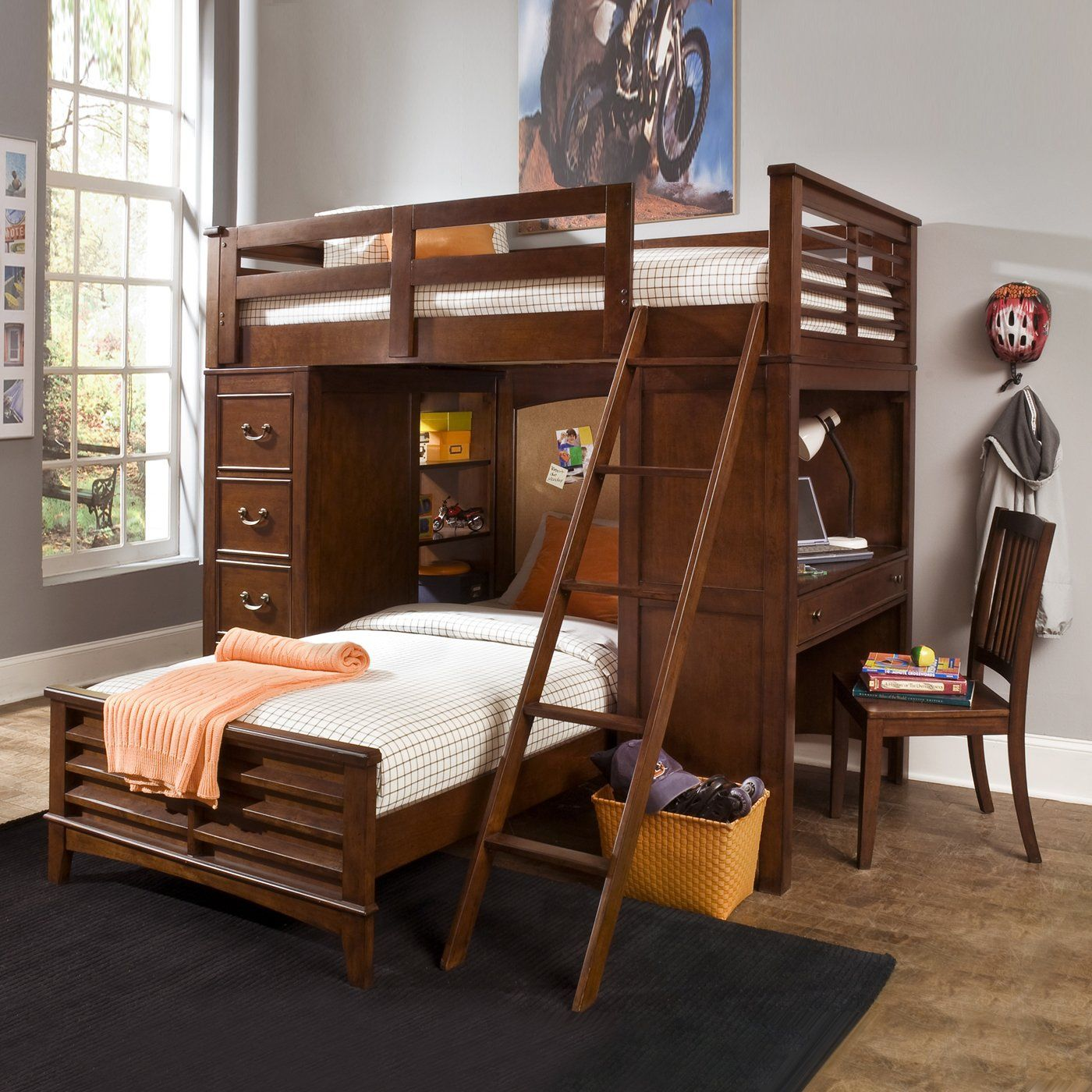Queen loft bed ideas  Bunk Beds with desk and builtin storage  Brandon bedroom