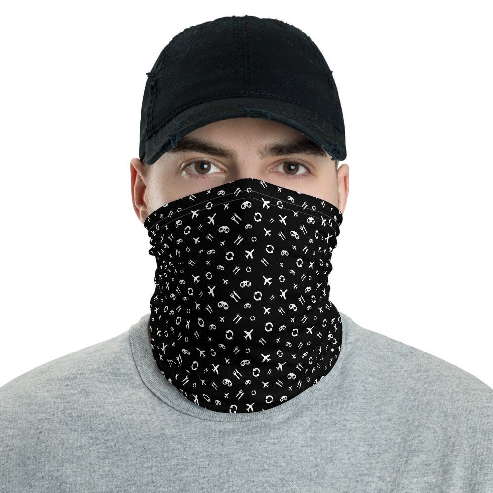 Travel Eat Discover Repeat Pattern Neck Gaiter This All Over Print Neck Gaiter Can Be Used As A Face Covering Headband Banda In 2020 Neck Gaiter Gaiters Neck Warmer