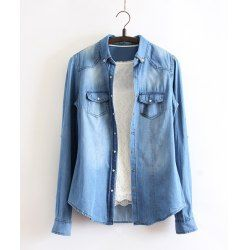 Bleach Wash Long Sleeve Turn Down Collar Stitching Design Denim Shirt For Women