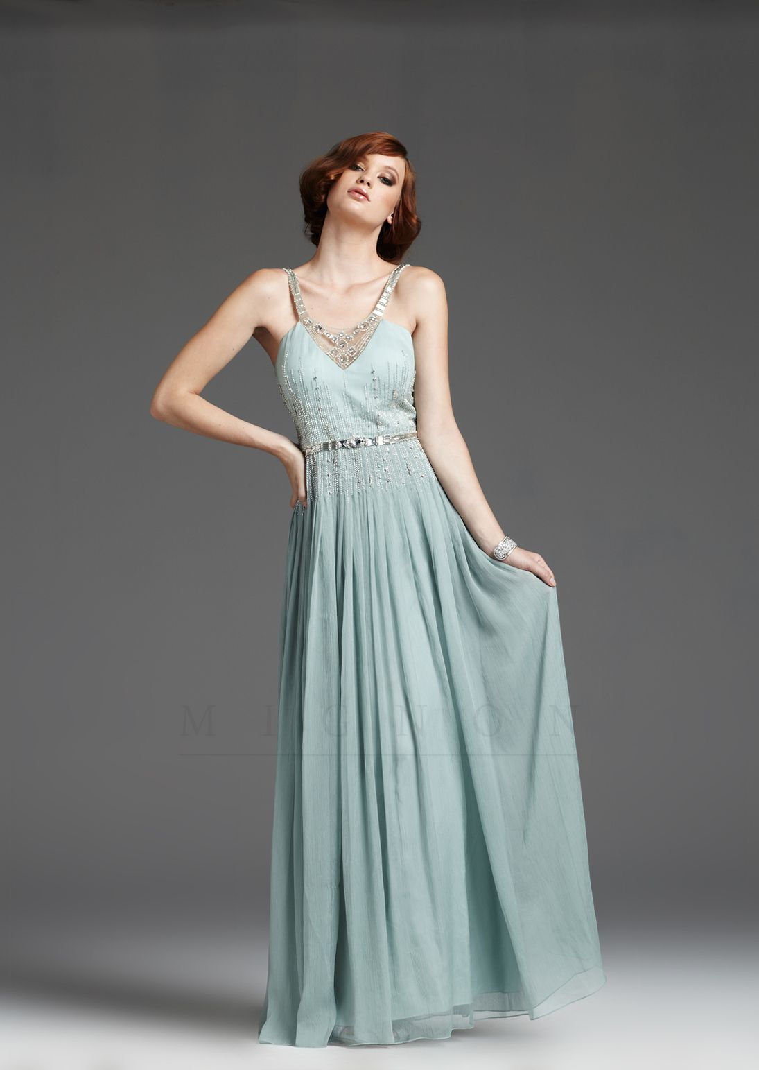 Seamist 1930's Style Grecian Silver Beaded Elegant Prom Dress ...