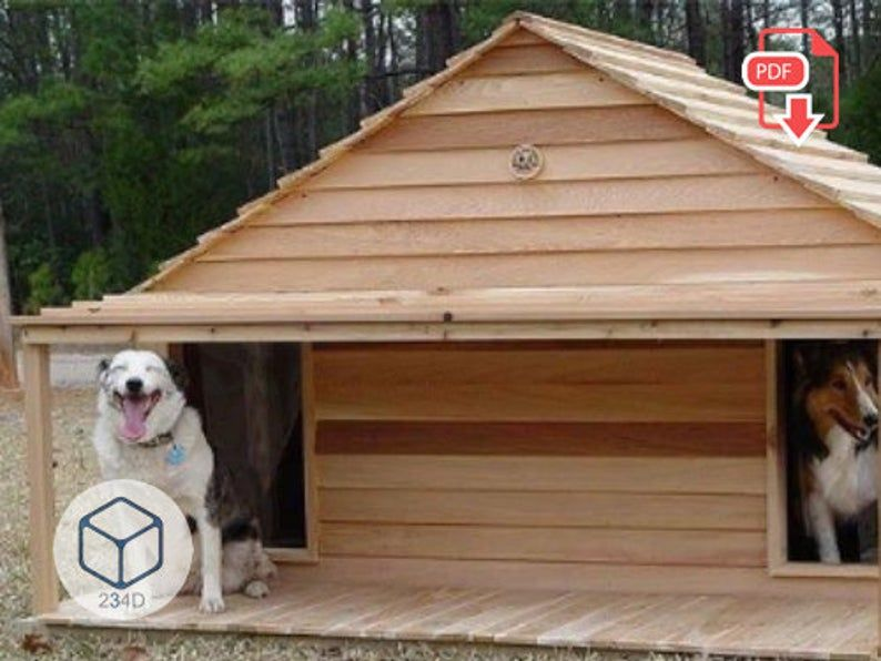 Diy Dog House Plans Double Kennel Large Outdoor Pdf In 2021 Dog House Diy Diy Dog Stuff Dog House Plans