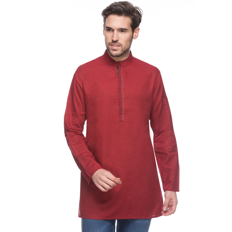 0be3c4afd70 In-Sattva Shatranj Men's Textu Maroon Mid-length Banded Collar Indian Kurta  Tunic