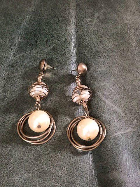 Vintage Pearl Earrings Dangle Drop Gold Pierced Golden S Pinterest