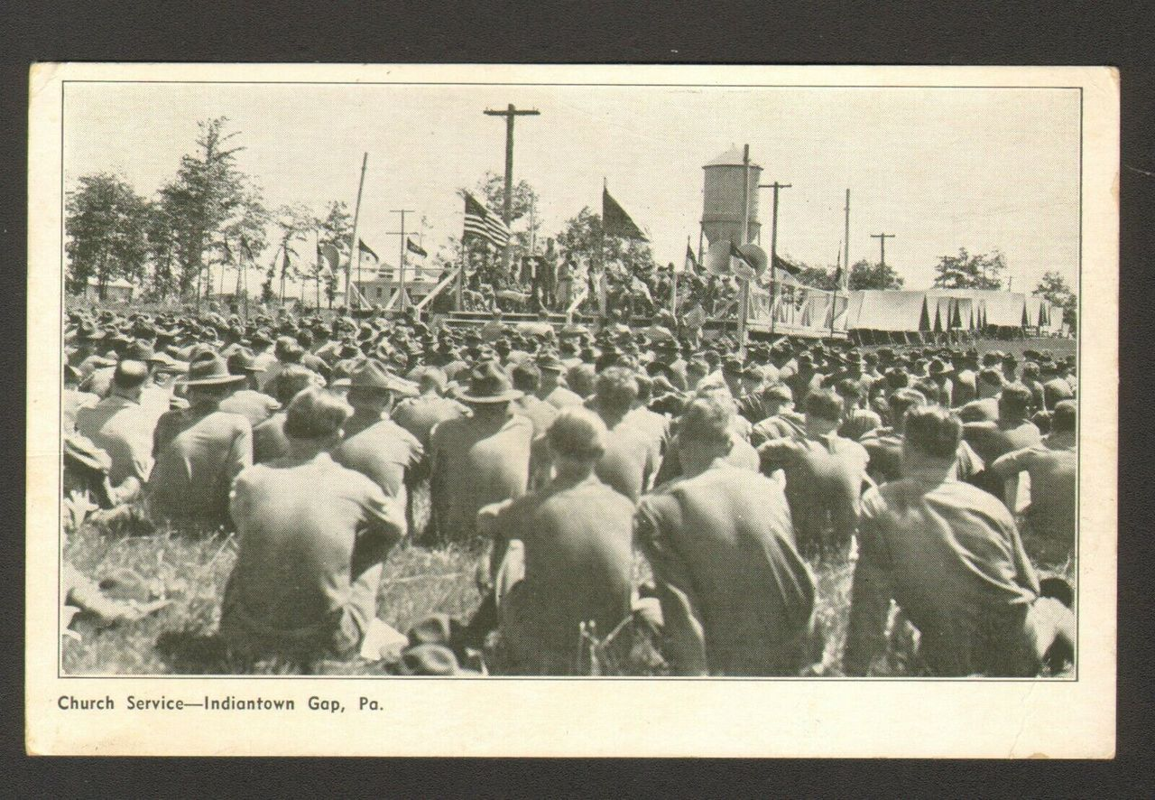 1938 Postmarked Postcard Church Service Indiantown Gap