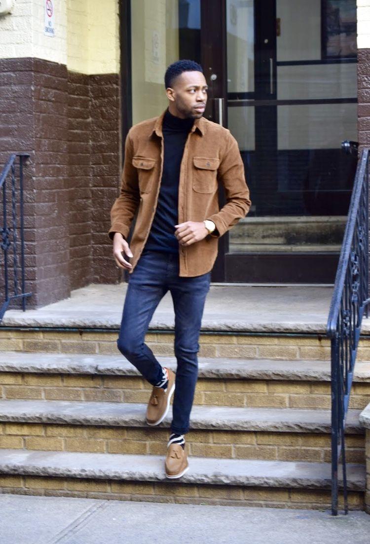 Tan Corduroy Jacket Black Turtleneck Black Jeans Tan Loafers Jackets Men Fashion Loafers Men Outfit Black Turtleneck Black Jeans [ 1103 x 750 Pixel ]