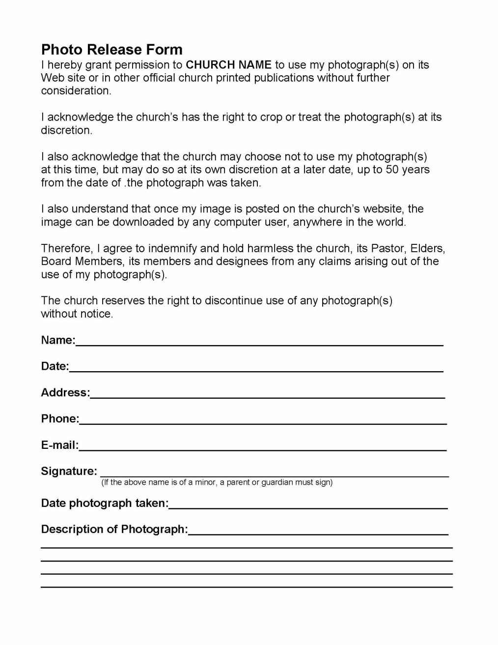 Photo Permission Forms  Churches Church Nursery And Youth Ministry