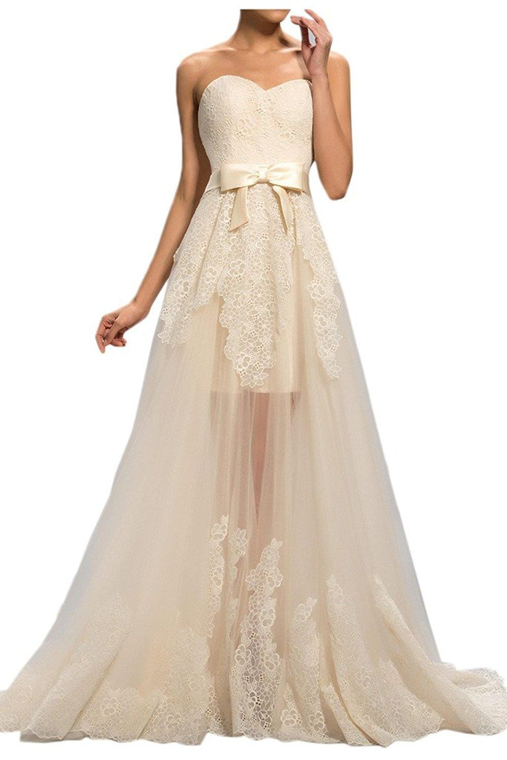 Mella womenus sweet beach wedding dresses for bride high low