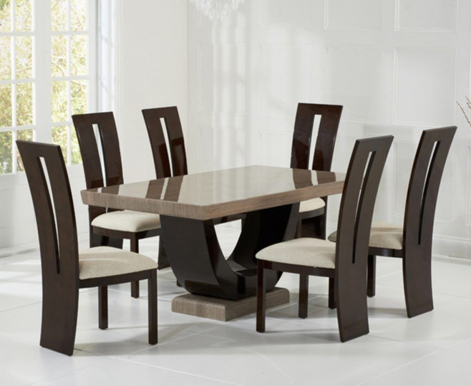 Dining Room Elegant Brown Marble Dining Table For 4 Brown Dining