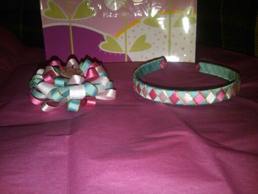 Flower Loop Bow and Ribbon Wrapped Headband Combo with Bottle Cap Accent.  $15.00