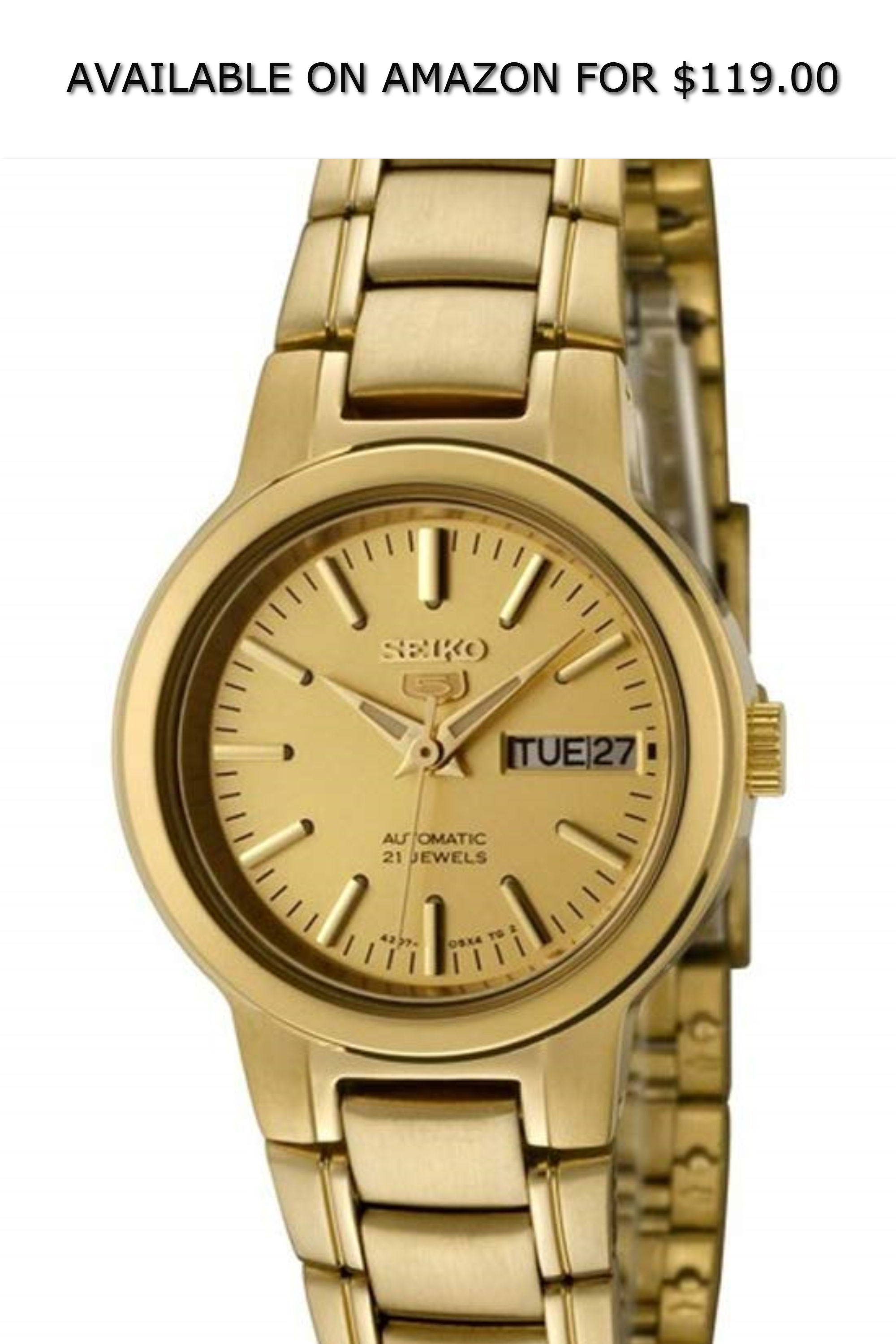Seiko 5 Syme46k1 Women S Gold Tone Self Winding Automatic Watch Available On Amazon For 119 00 Seiko 5 Gold Watches Women Girls Watches Rose Gold Watch