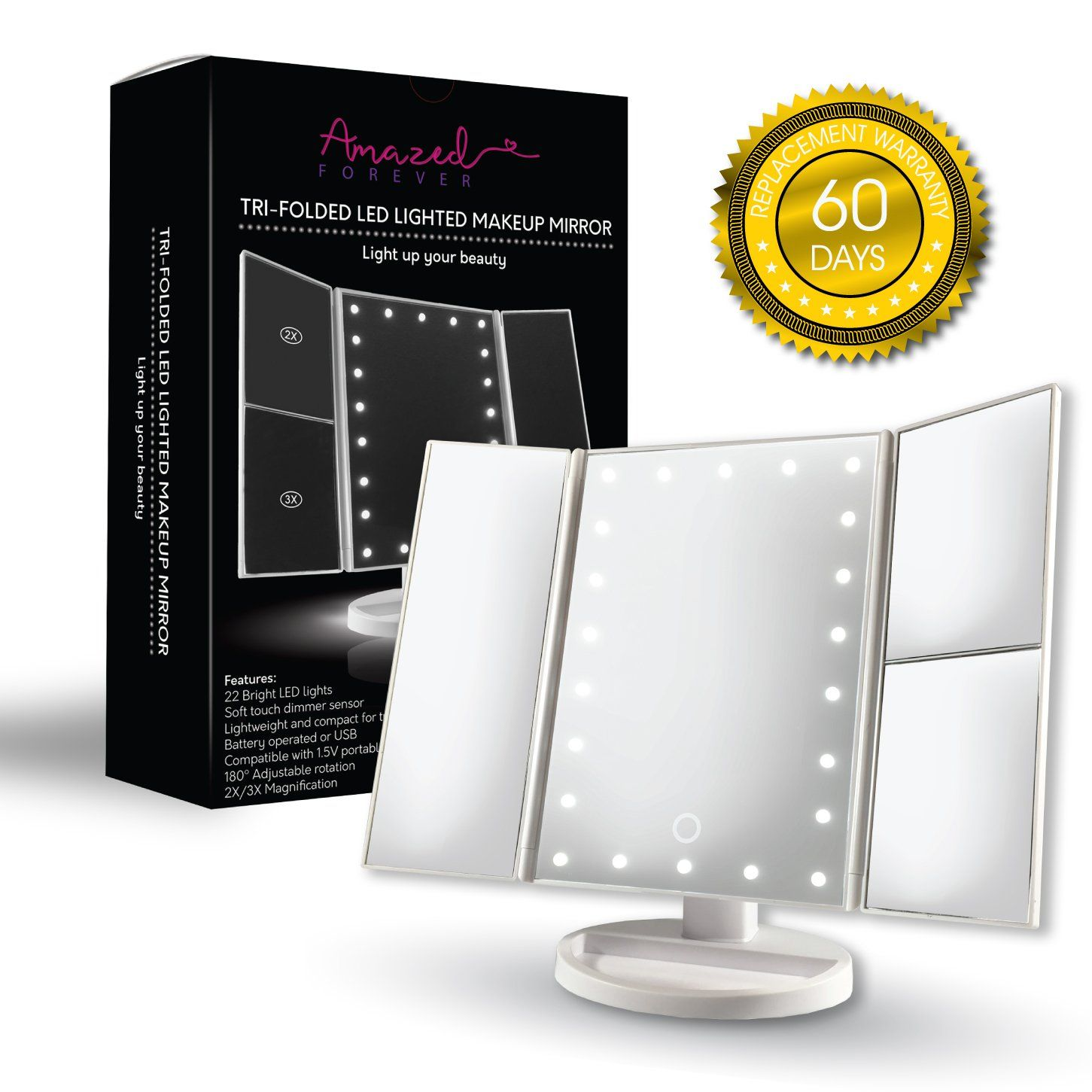 LED Lighted Mirror with 22 LED Lights Makeup Mirror with