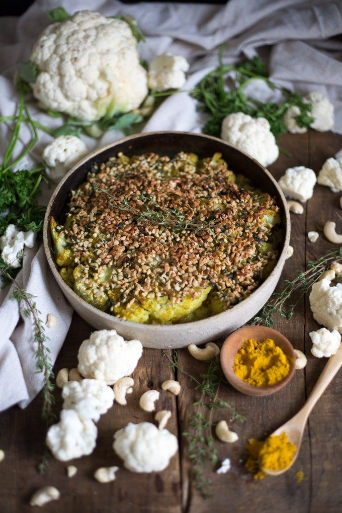 German roasted cauliflower with curry cashew crust recipe german roasted cauliflower with curry cashew crust clean food recipesclean forumfinder Gallery