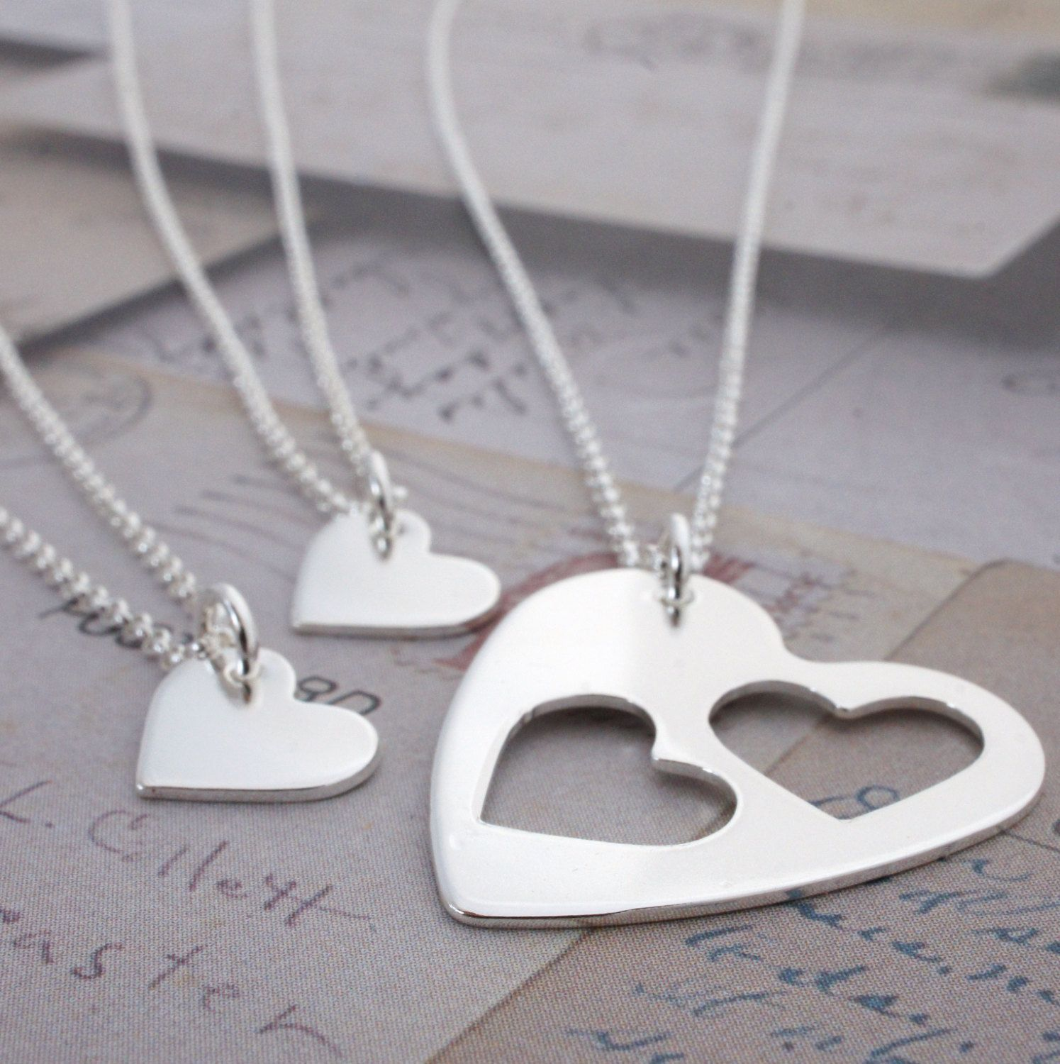 Mother daughter heart necklace set custom cut three heart necklace