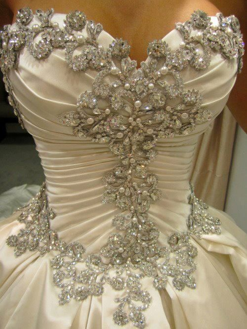 Diamonds And Pearls On A Wedding Dress Corset