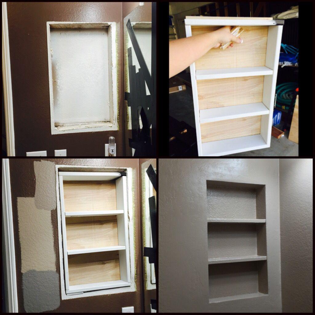 Building A Nook Removed The Medicine Cabinet Bathroom Niche Diy Bathroom Bathroom Makeover