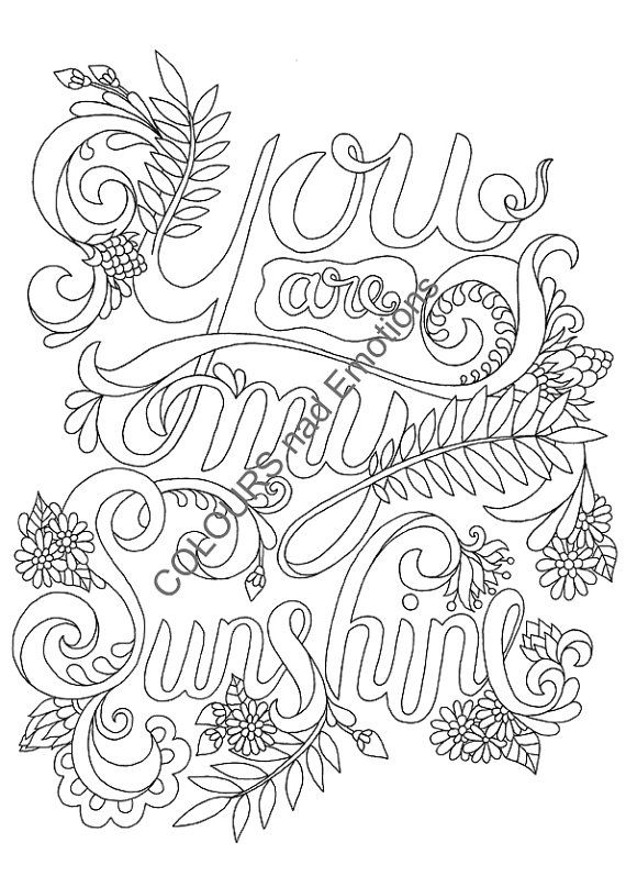 You Are My Sunshine Coloring Page Adult By COLOURSandEMOTIONS