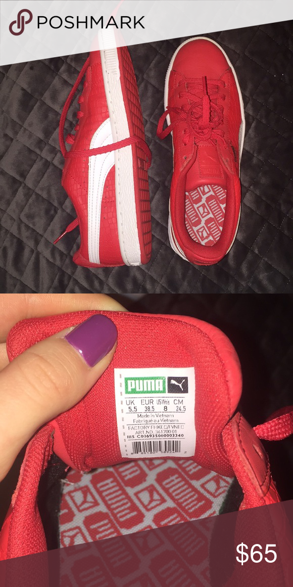 73db2ab012 Women s PUMA sneakers (size 8) NEVER WORN Exclusive Puma sneakers. Red with  white accents. Perfect condition (tags not still on). FENTY PUMA by Rihanna  Puma ...