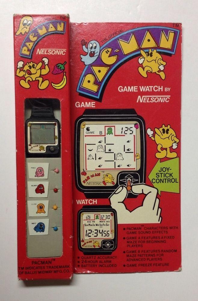 Vintage Nelsonic Pac Man Game Watch W Joy Sticks New In Orig