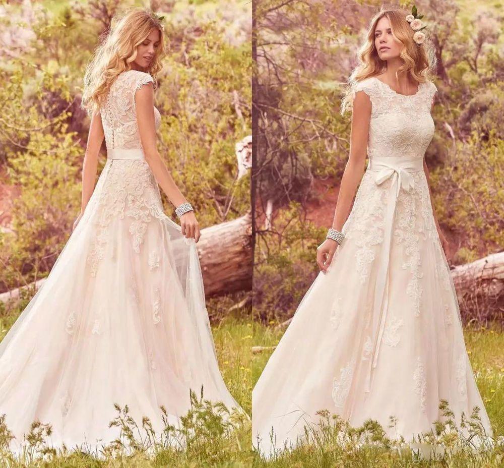 Lace applique tulle modest ohemian wedding dresses boho bridal gowns