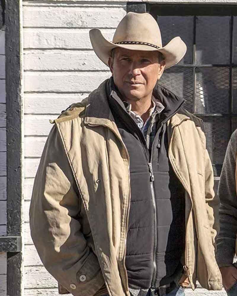 John Dutton Yellowstone Beige Jacket The Genuine Leather Beige Jacket Western Jacket Kevin Costner [ 1000 x 800 Pixel ]