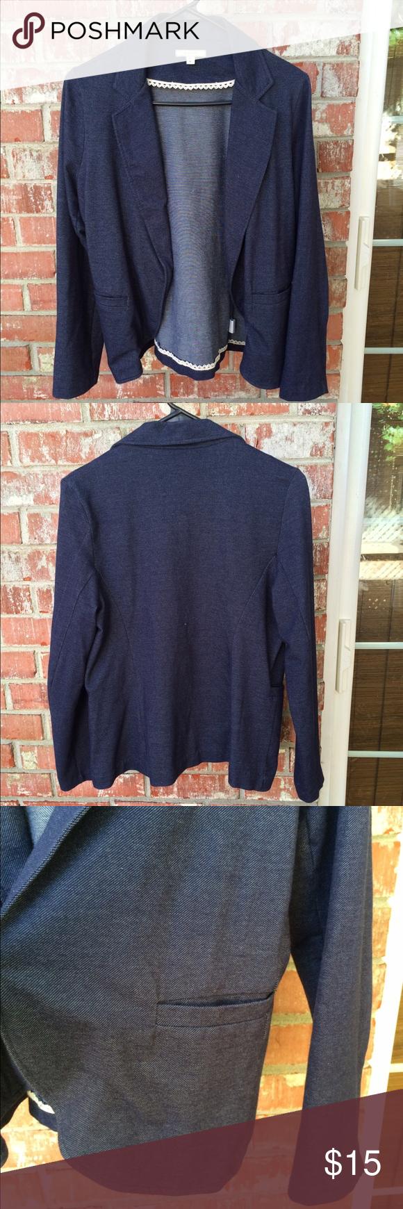 Pleione Open Blazer Faux denim/navy color. 100% cotton. Open blazer. 2 front slip pockets. In new condition Pleione Jackets & Coats Blazers
