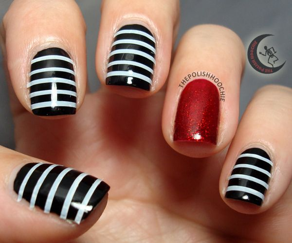 Awesome Halloween Tape Mani Halloween Nails Halloween Nail Designs Nails Inspiration