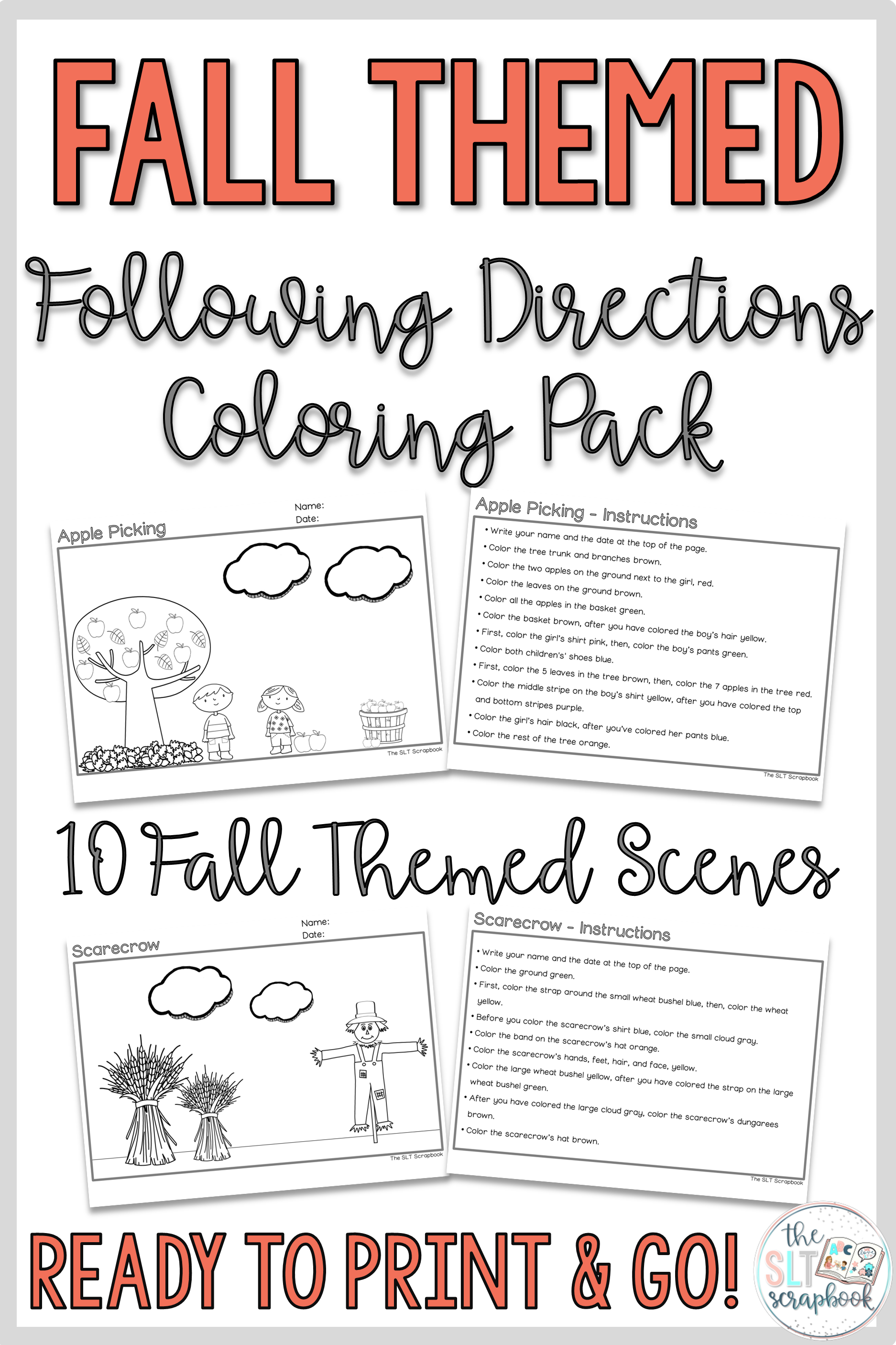 Fall Themed Following Directions Coloring Pack Mixed