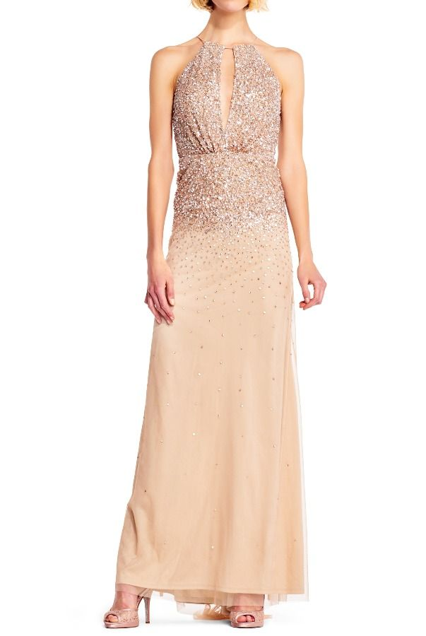 Adrianna Papell Beaded halter gown keyhole neckline champagne ...