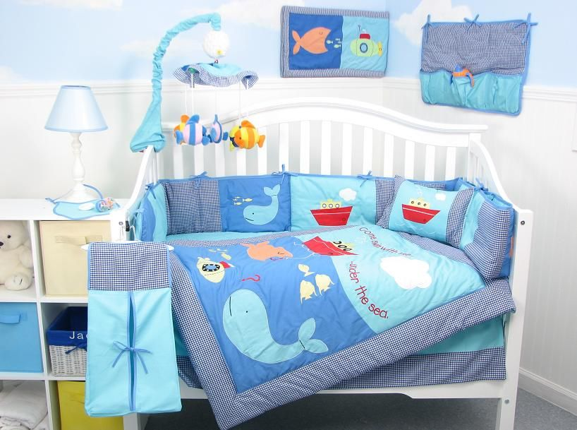Bedroom Baby Boy Bedding Sets For Crib Set With A Cool Blue Aquatic Theme Retro Modern Design Neutral Color Boys Inspirations