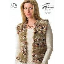 Gilet, Scarf and Hat in King Cole Romano Chunky - 3382