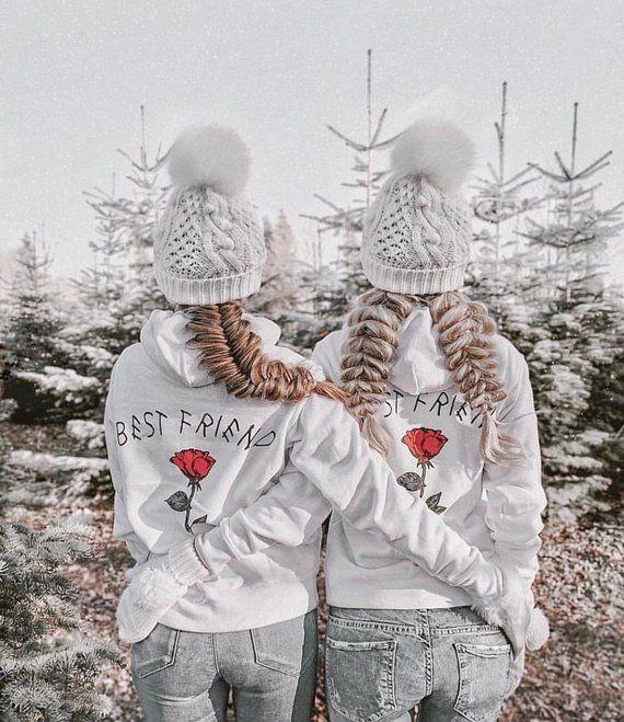 Pull Couple Noel BEST FRIEND Couples Hoodies, Meilleure amie sœur, Hoodies pour