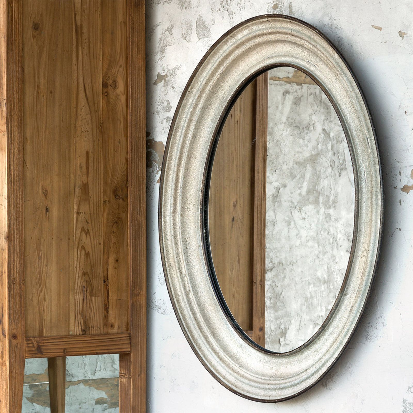 Oval Antiqued Metal Mirror aged_gray Oval mirror, Metal