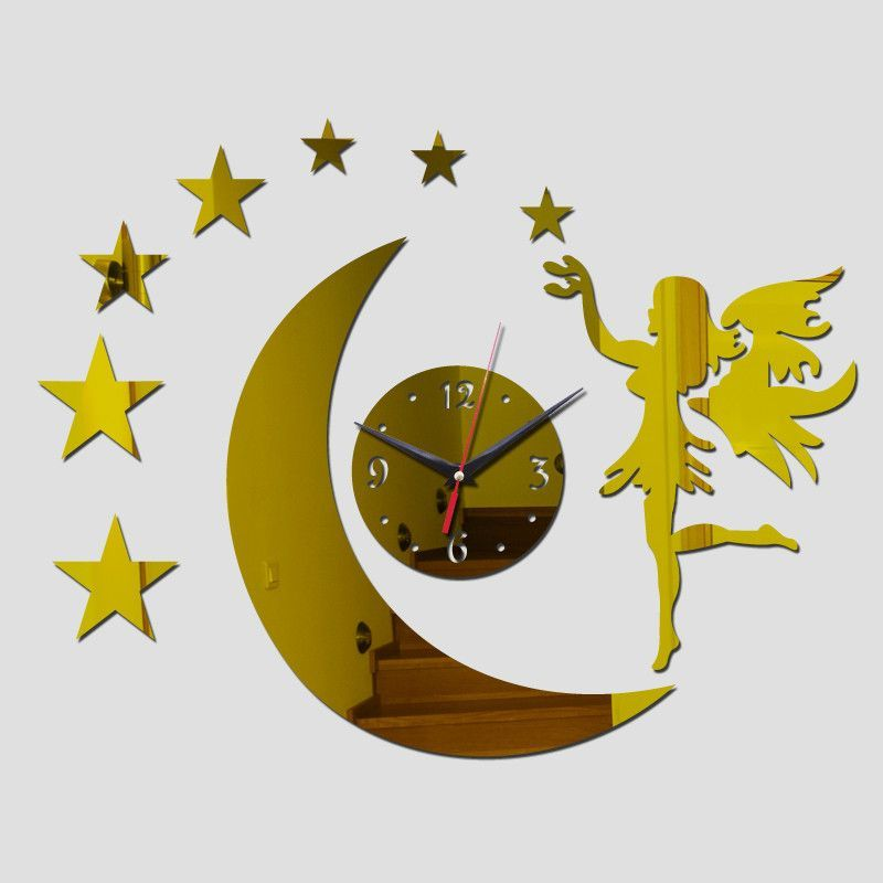 Moon & Stars DIY Mirrored Wall Clock 3 Colors | Girls Room Painting ...