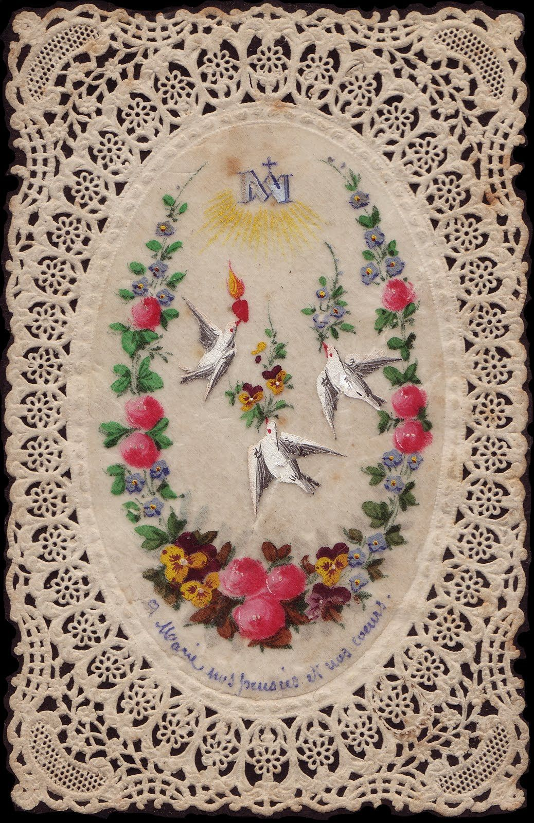 To Mary - Our thoughts  our hearts.  Antique hand-painted French holy card.  www.fullofgraceusa.com