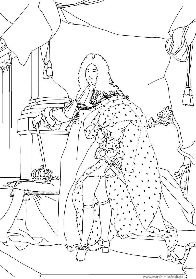 ludwig 14 ausmalbild kunst  digitale zeichnung