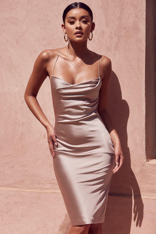 Clothing   Bodycon Dresses    Alette  Vestido drapeado de dos piezas en  tono champán 209792161c1