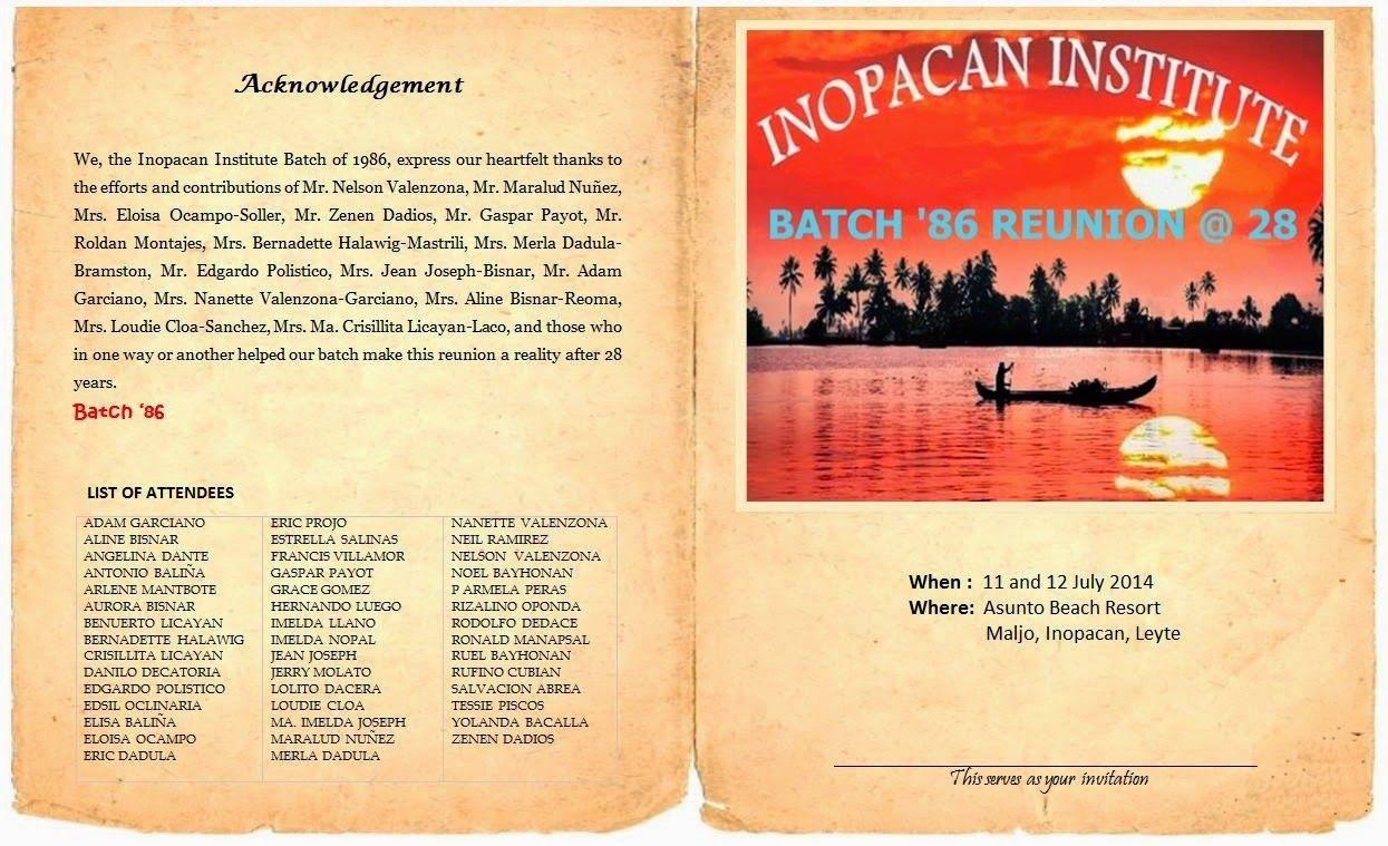 INOPACAN INSTITUTE: Batch '86 Reunion Programme of activities