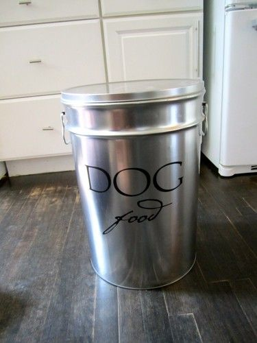 Modern Metal Dog Food Container With Scoop Dog Food Container