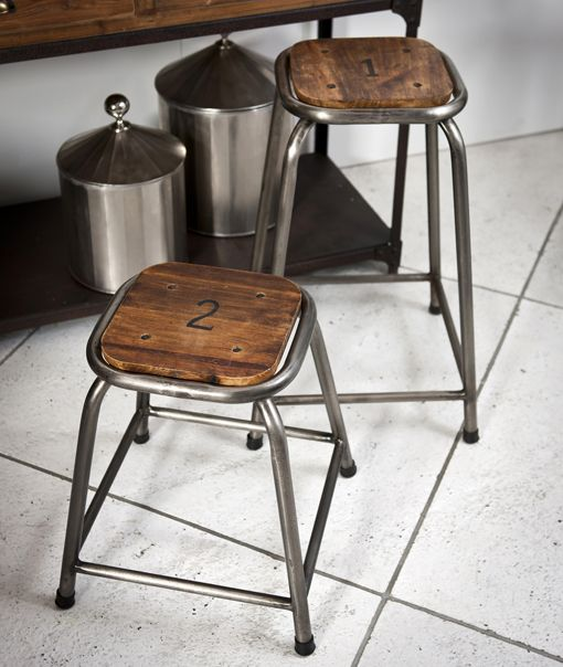Numbered School Stool 4 Industrial Wood And Metal Bar