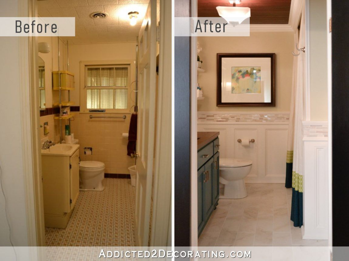 Diy Bathroom Remodel Before And After Addicted 2 Decorating Small Bathroom Remodel Diy Bathroom Remodel Simple Bathroom Remodel
