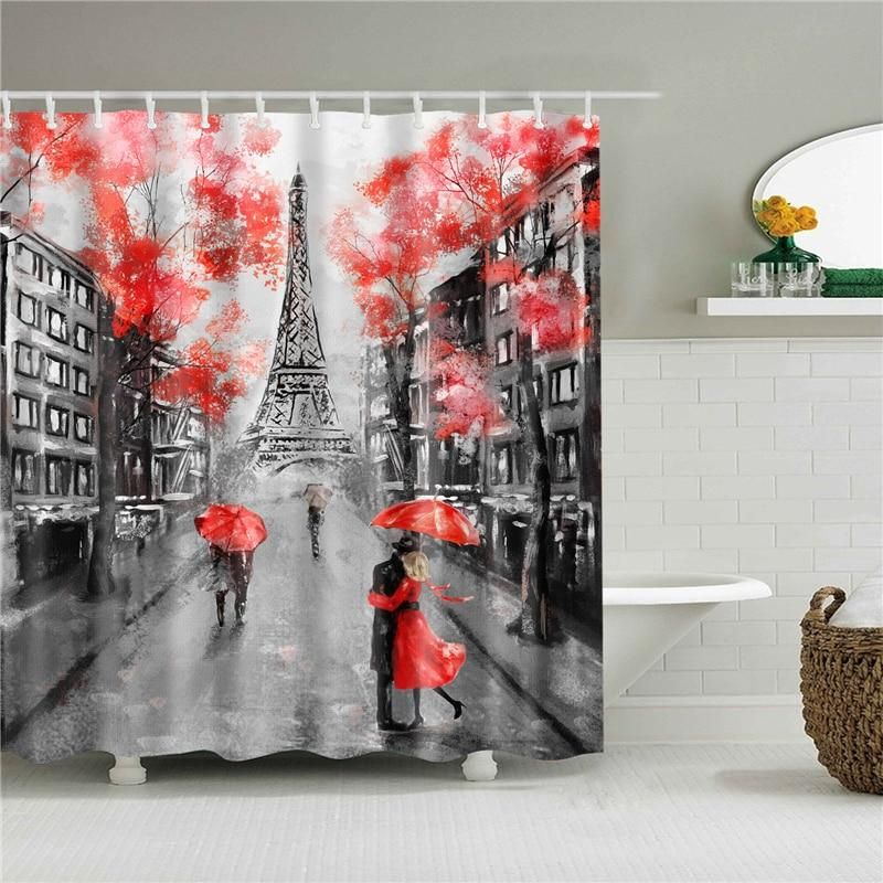 Red Paris Fabric Shower Curtain In 2020 Shower Curtain Art