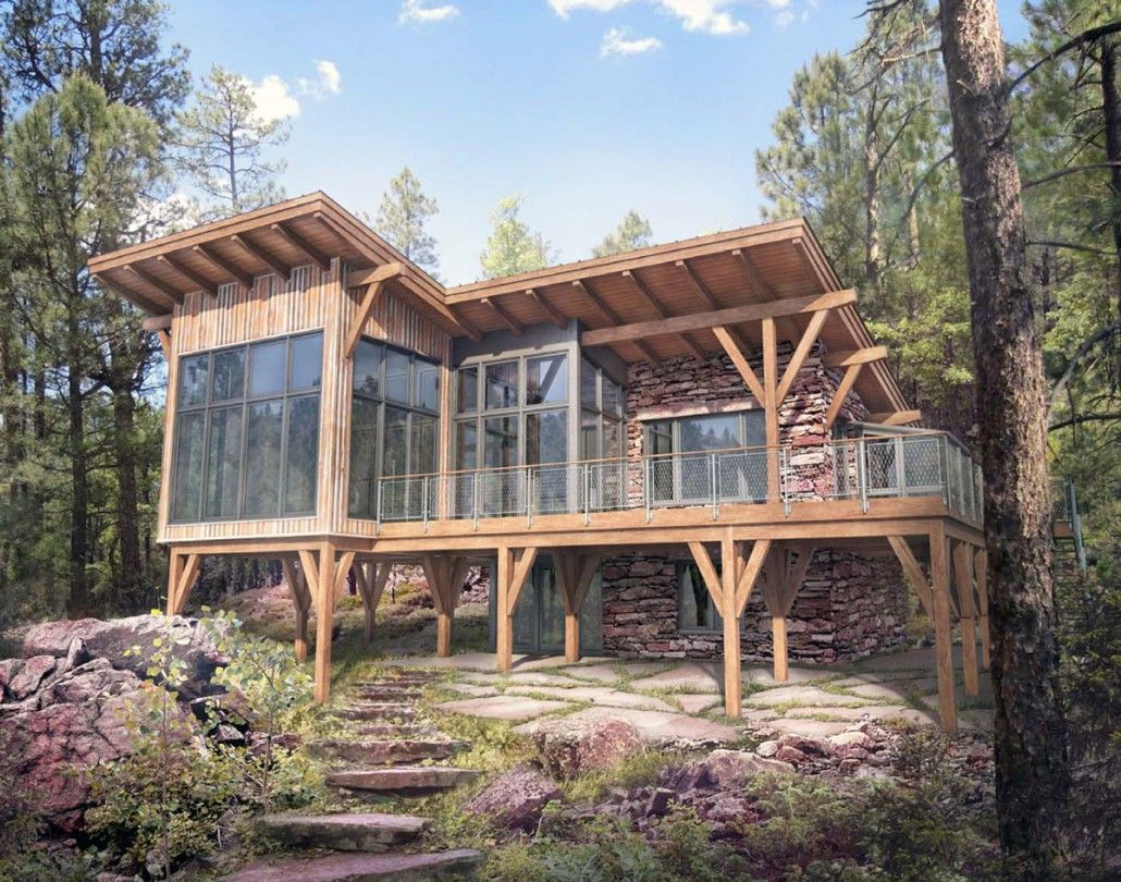 This 2 Bedroom 3 Bathroom 2 Level Timber Frame Home Is Available From Colorado Timberframe This Design Can Be F Timber House Hillside House Tiny House Cabin