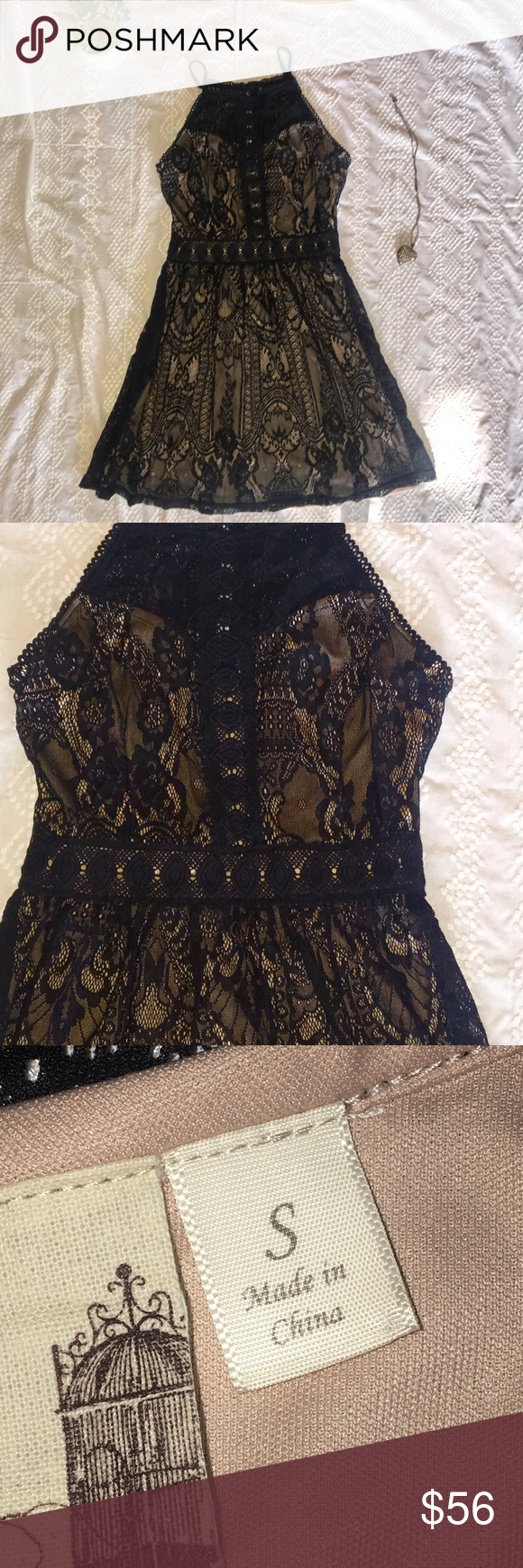 00b02d939563 Black lace cocktail dress! Sexy Black and Tan Cocktail dress. Inside lining  is a nude/tan color with a black lace overlay. Very unique! 100% polyester.