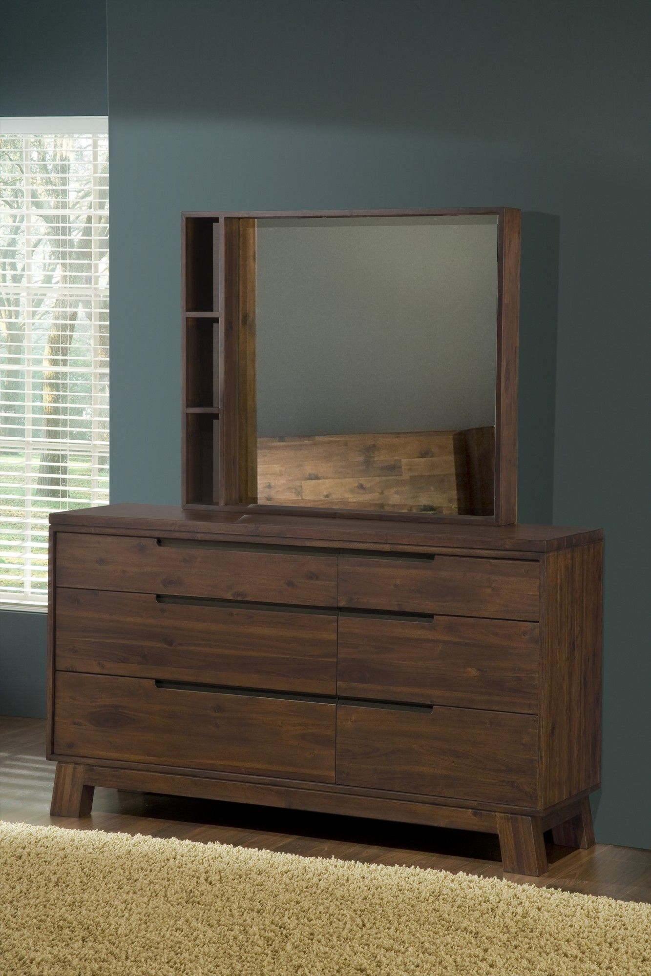 Solid Acacia Wood Mirror Optional Modus Portland 6 Drawer Dresser