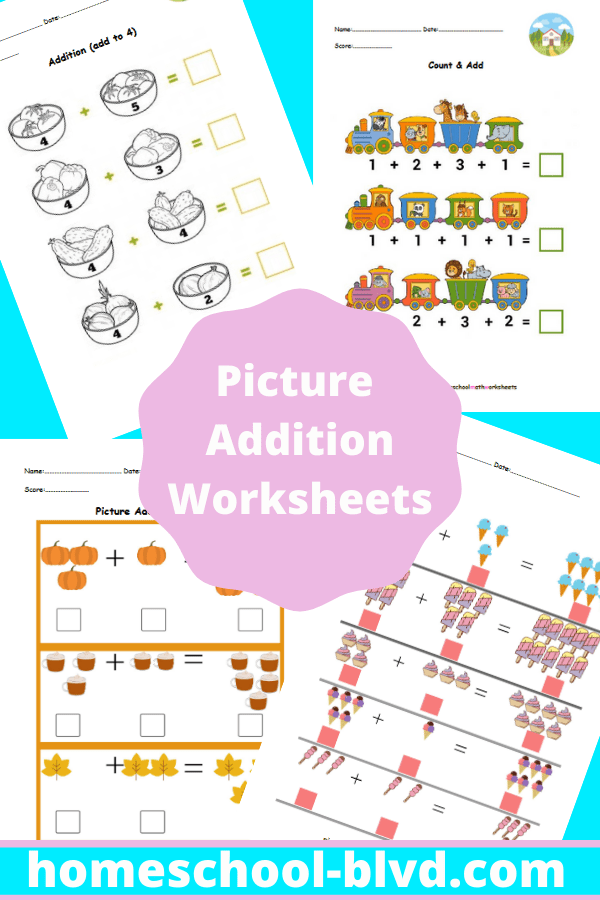 Picture Addition Worksheets Math Worksheets Homeschool Math Addition Worksheets